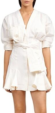 Acler Lipton Puff-Sleeve Belted Shirtdress