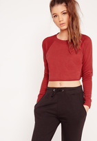 Missguided Crop Raw Hem Sweatshirt Red