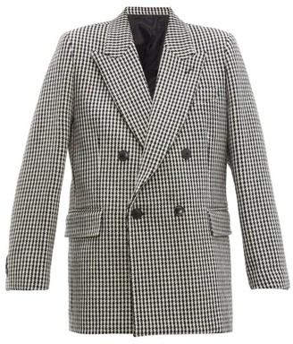Ami Houndstooth Double-breasted Wool Blazer - Womens - Black White