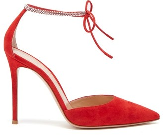 Gianvito Rossi Crystal-embellished 105 Suede Pumps - Womens - Red