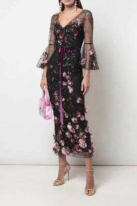 Marchesa Notte 3/4 Sleeve Embroidered Black Midi-Tea Dress