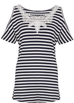 Quiz Navy And White Stripe Cold Shoulder Top