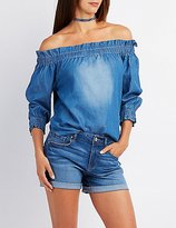 Charlotte Russe Chambray Off-The-Shoulder Top
