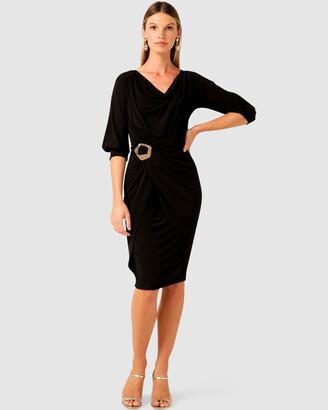 SACHA DRAKE - Women's Black Dresses - Cowl Tie Drape Dress - Size One Size, 8 at The Iconic