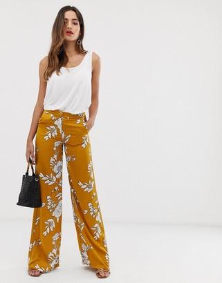Morgan wide leg palazzo trouser in mustard floral print-Yellow