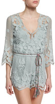 Miguelina Greta Netted/Lace Romper Coverup, Sage