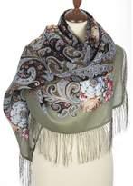 Pavlovo Posad Russian Shawl Pashmina Scarf Wrap Green No226 Wool 49x49''