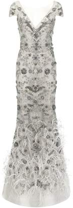 Marchesa Crystal-Embellished Tulle Column Gown