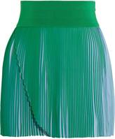 Stella McCartney Amandine pleated wrap-effect crepe shorts