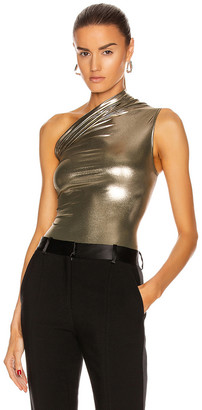 Rick Owens One Shoulder Bodysuit in Bronze | FWRD
