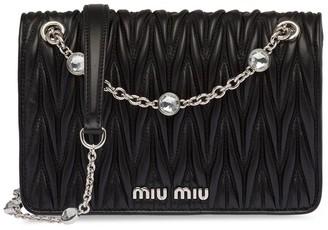 Miu Miu Crystal-Embellished Matelasse Leather Cross-Body Bag