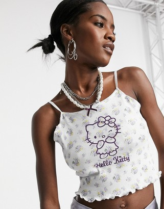 New Girl Order x Hello Kitty cami crop top in floral with winking kitty