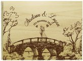 Darling Souvenir Handmade Personalized Guest Book Rustic Wedding Wood Wooden Engraved Name Advice Book- 50 Pages
