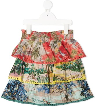 Zimmermann Kids Juliette tropical-print skirt