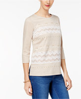 Alfred Dunner Eskimo Kiss Lace-Trim Embellished Top