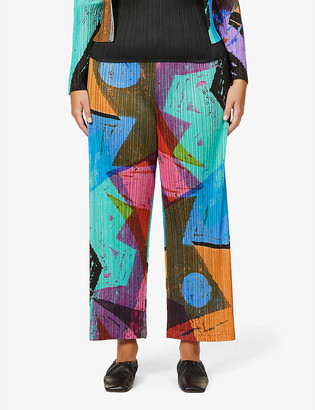 Pleats Please Issey Miyake Swing abstract-print pleated high-rise woven trousers