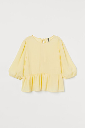 H&M Puff-sleeved Blouse - Yellow