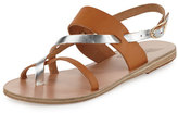 Ancient Greek Sandals Alethea Multi-Strap Leather Flat Sandal, Natural/Silver