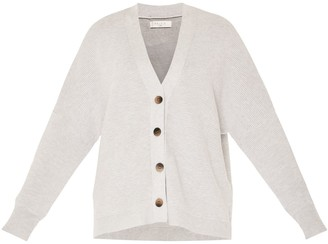 Paisie Ribbed Cardigan In Light Grey