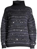 Lafayette 148 New York Striped Sequin Cashmere Sweater