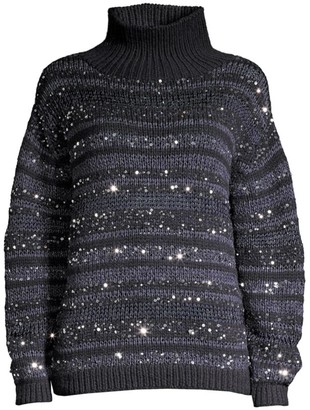 Lafayette 148 New York Striped Sequin Cashmere Sweater