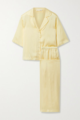 Skin Tay Stretch-silk Satin Pajama Set - Pastel yellow