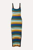 Solid & Striped Striped Ribbed-knit Midi Dress - Blue