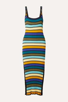 Solid & Striped Striped Ribbed-knit Midi Dress - Blue
