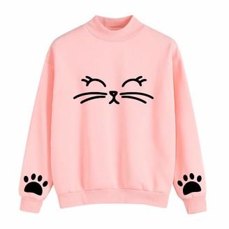 Ttlove Women TTlove_Women Cat Printing Long Sleeve Hoodie Sweatshirt Hooded Pullover Tops Blouse Cute for Teen Girls