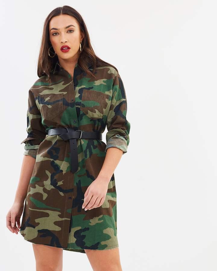 Missguided Camo Long Sleeve Shirt Dress