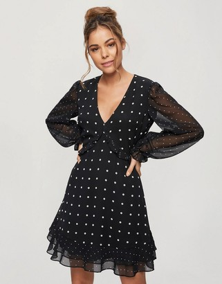 Miss Selfridge chiffon mini dress in black spot