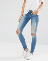 Only Coral Skinny Jeans With Big Holes