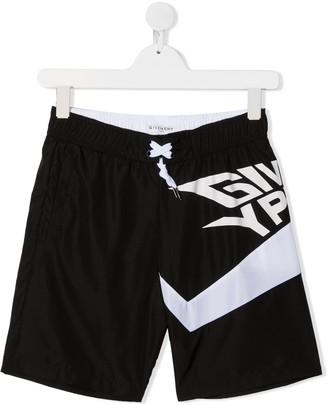 Givenchy Kids Stylized Logo Swim Trunks