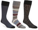 Roundtree & Yorke Gold Label Square Dot Combo Crew Dress Socks 3-Pack