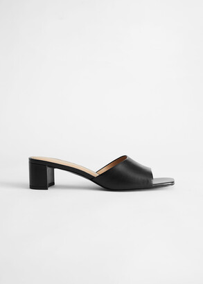 And other stories Heeled Leather Square Toe Sandal