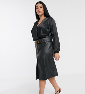 Lost Ink Plus belted midi skirt in faux leather
