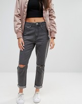 Boohoo High Rise Ripped Boyfriend Jeans