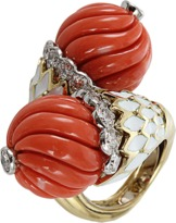 David Webb Carved Coral Double Ball Ring