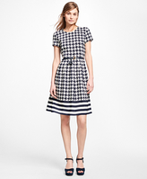 Brooks Brothers Silk Houndstooth and Stripe Dress