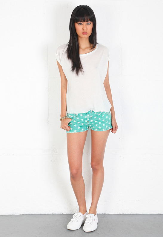 Singer22 m2f Star Print Cut Off Shorts in Palm Green