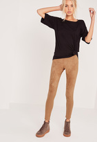 Missguided Perforated Suede Leggings Tan