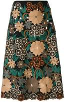 RED Valentino floral embroidery midi skirt