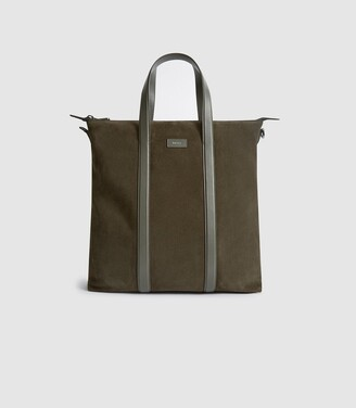 Reiss Huxley - Suede Tote Bag in Green