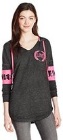 Miss Chievous Women's Long Sleeve Burnwash Notch Neck Hoodie with Pink Twill Pulls
