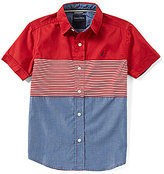 Nautica Big Boys 8-20 Mixed-Media Short-Sleeve Woven Shirt