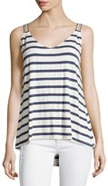 Max Studio High-Low Striped Tank, Natural/Blue