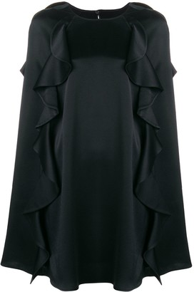 Valentino Frilled Cape Dress