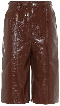 Dodo Bar Or High-rise leather Bermuda shorts