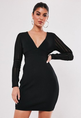 Missguided Premium Black Bandage Long Sleeve V Neck Mini Dress