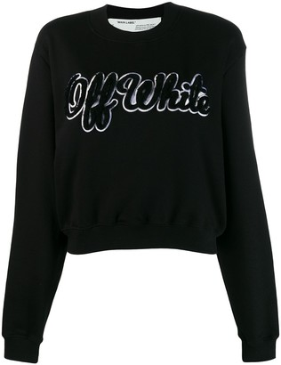 Off-White textured logo jumper